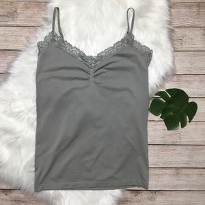 3/$30 Gray Lace Cami Tank Top Size L